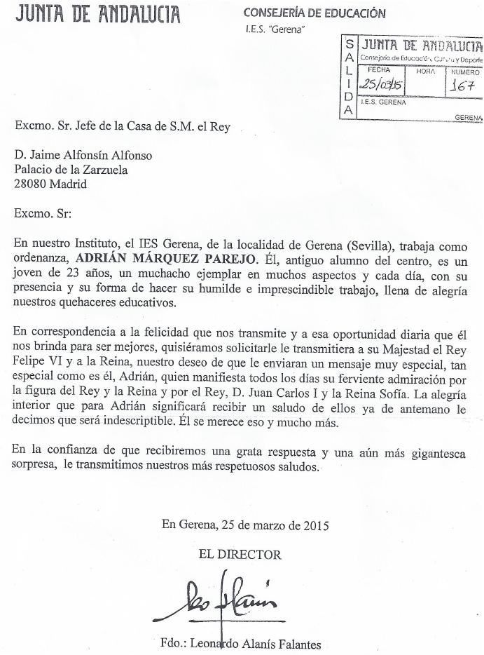 Carta de IES Genera al Rey